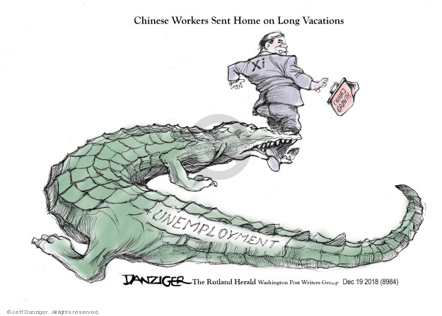 Cartoonist Jeff Danziger  Jeff Danziger's Editorial Cartoons 2018-12-20 unemployment
