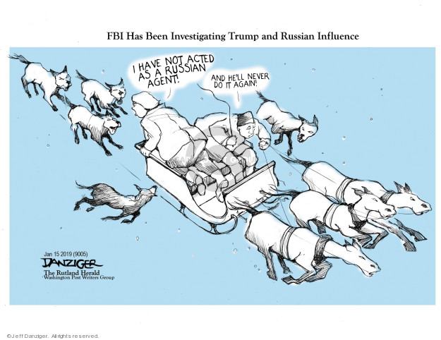 Cartoonist Jeff Danziger  Jeff Danziger's Editorial Cartoons 2019-01-17 investigate
