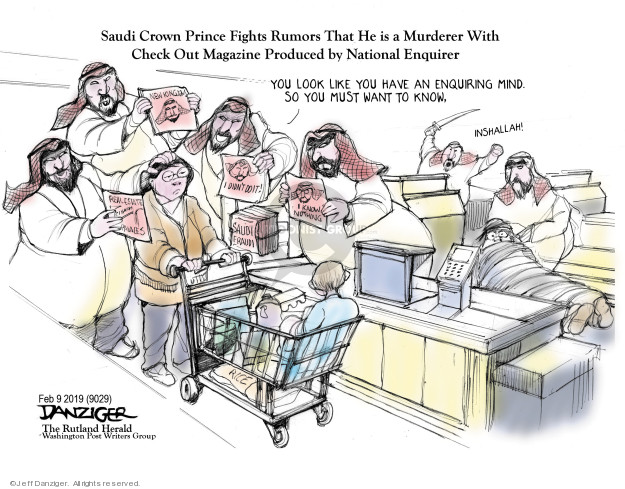 Cartoonist Jeff Danziger  Jeff Danziger's Editorial Cartoons 2019-02-10 fight