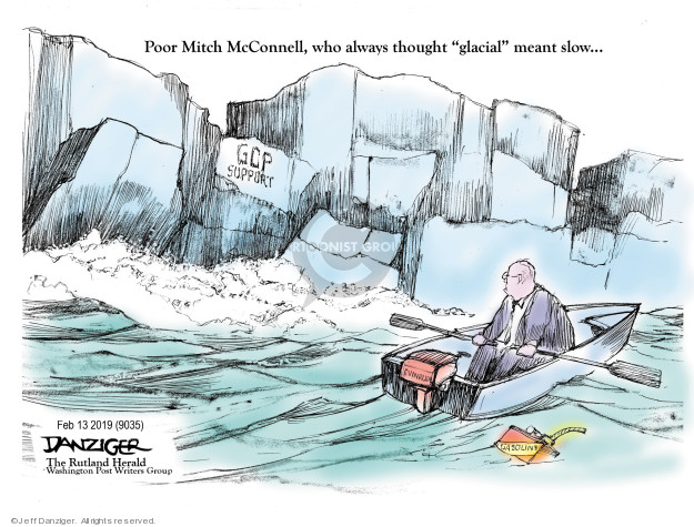 Poor Mitch McConnell, who always thought glacial meant slow … GOP support. Evinrude. Gasoline.