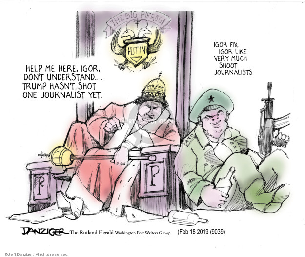 Cartoonist Jeff Danziger  Jeff Danziger's Editorial Cartoons 2019-02-20 shooting