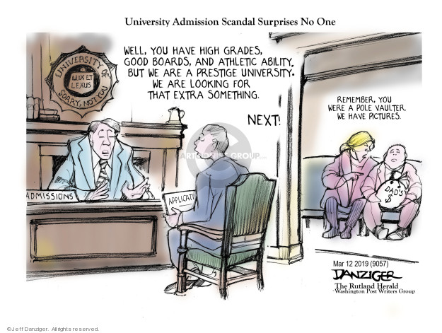 Cartoonist Jeff Danziger  Jeff Danziger's Editorial Cartoons 2019-03-12 college education