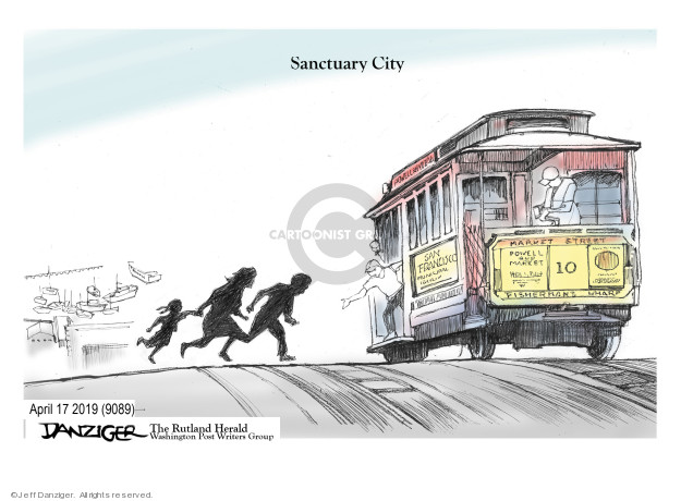 Cartoonist Jeff Danziger  Jeff Danziger's Editorial Cartoons 2019-04-18 migrant
