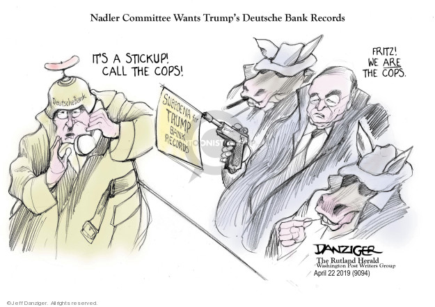 Cartoonist Jeff Danziger  Jeff Danziger's Editorial Cartoons 2019-04-24 congressional investigation