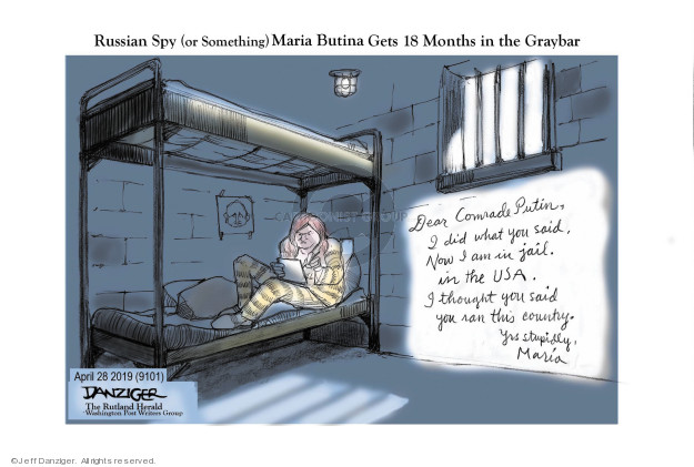 Jeff Danziger  Jeff Danziger's Editorial Cartoons 2019-04-29 Vladimir Putin