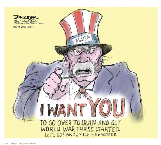 Cartoonist Jeff Danziger  Jeff Danziger's Editorial Cartoons 2019-05-18 United States Military