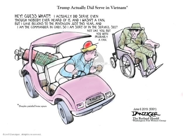 Cartoonist Jeff Danziger  Jeff Danziger's Editorial Cartoons 2019-06-07 soldier