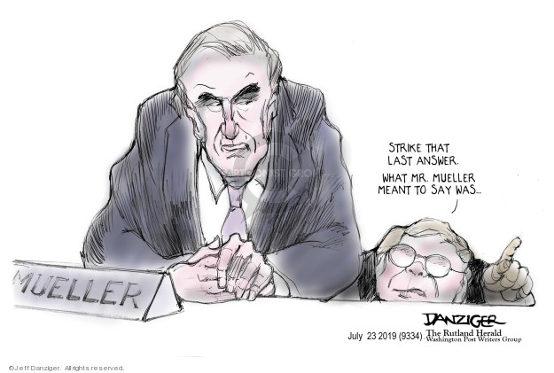 Cartoonist Jeff Danziger  Jeff Danziger's Editorial Cartoons 2019-07-24 congressional investigation