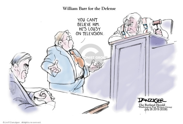 Cartoonist Jeff Danziger  Jeff Danziger's Editorial Cartoons 2019-07-27 obstruction