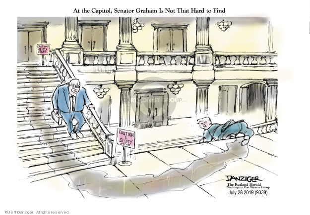 At the Capitol, Senator Graham Is Not That Hard to Find. Caution! Slimy steps. Caution! Slimy ahead.