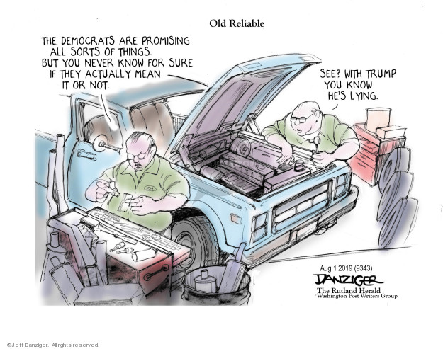 Cartoonist Jeff Danziger  Jeff Danziger's Editorial Cartoons 2019-08-02 democratic candidate