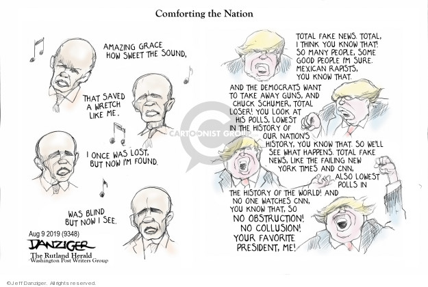 Cartoonist Jeff Danziger  Jeff Danziger's Editorial Cartoons 2019-08-09 shooting