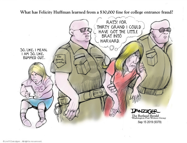 Cartoonist Jeff Danziger  Jeff Danziger's Editorial Cartoons 2019-09-16 political scandal