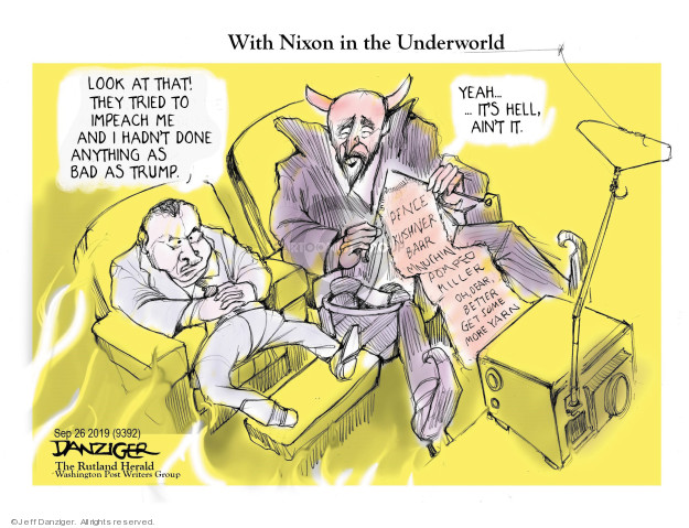 Cartoonist Jeff Danziger  Jeff Danziger's Editorial Cartoons 2019-09-28 Richard Nixon