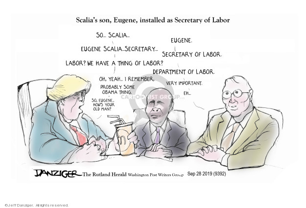 Cartoonist Jeff Danziger  Jeff Danziger's Editorial Cartoons 2019-09-29 secretary