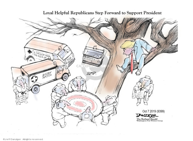 Loyal Helpful Republicans Step Forward to Support President. A checkup from the neck up. Booby Hatch. Loony bin. Jump!
