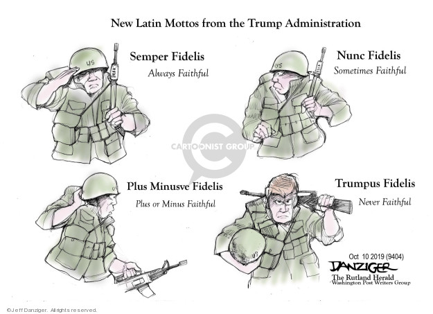 Cartoonist Jeff Danziger  Jeff Danziger's Editorial Cartoons 2019-10-11 conflict