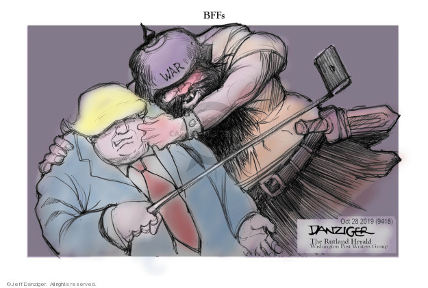 Cartoonist Jeff Danziger  Jeff Danziger's Editorial Cartoons 2019-10-28 conflict