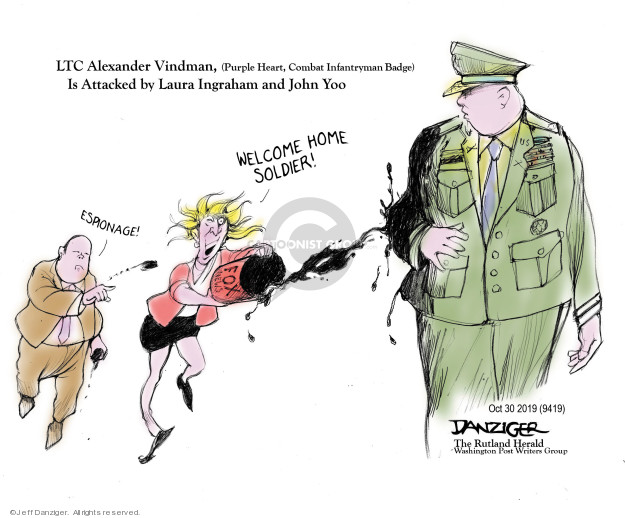 Cartoonist Jeff Danziger  Jeff Danziger's Editorial Cartoons 2019-10-31 soldier
