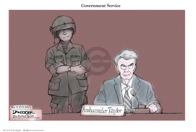 Cartoonist Jeff Danziger  Jeff Danziger's Editorial Cartoons 2019-11-14 congressional investigation
