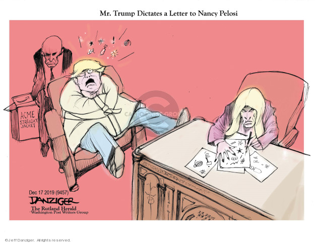 Cartoonist Jeff Danziger  Jeff Danziger's Editorial Cartoons 2019-12-19 impeachment