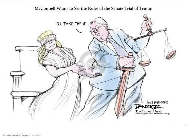 Cartoonist Jeff Danziger  Jeff Danziger's Editorial Cartoons 2020-01-02 obstruction