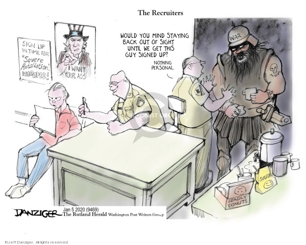Cartoonist Jeff Danziger  Jeff Danziger's Editorial Cartoons 2020-01-06 soldier