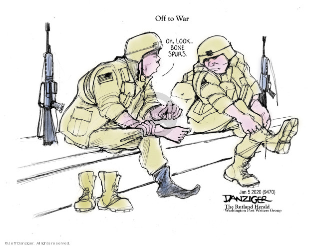 Cartoonist Jeff Danziger  Jeff Danziger's Editorial Cartoons 2020-01-07 soldier