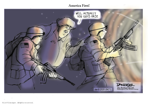 Cartoonist Jeff Danziger  Jeff Danziger's Editorial Cartoons 2020-01-08 international war