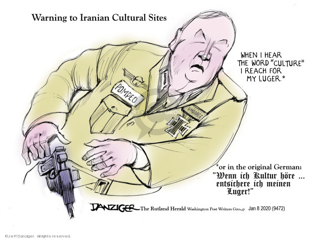 Cartoonist Jeff Danziger  Jeff Danziger's Editorial Cartoons 2020-01-10 international war