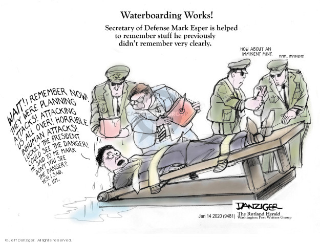 Cartoonist Jeff Danziger  Jeff Danziger's Editorial Cartoons 2020-01-16 international war