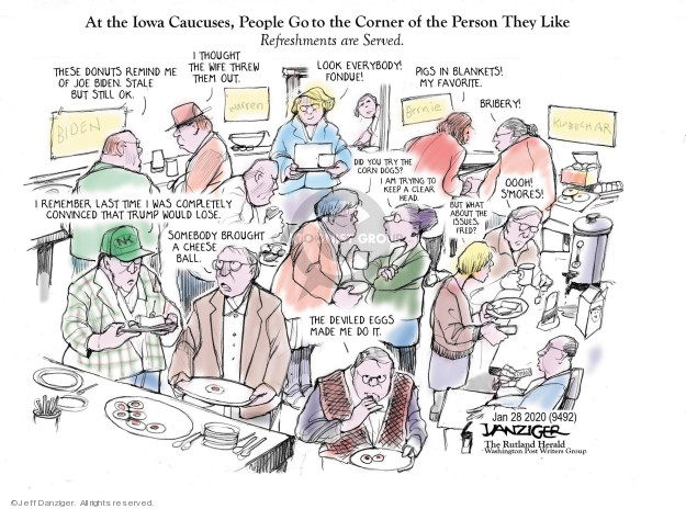 Cartoonist Jeff Danziger  Jeff Danziger's Editorial Cartoons 2020-01-28 democratic candidate