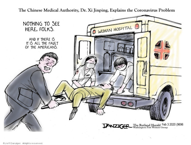 Cartoonist Jeff Danziger  Jeff Danziger's Editorial Cartoons 2020-02-04 hospital