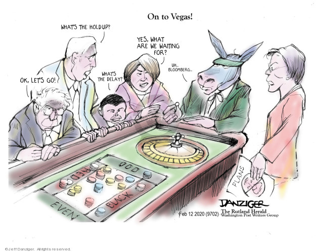 Cartoonist Jeff Danziger  Jeff Danziger's Editorial Cartoons 2020-02-12 democratic candidate