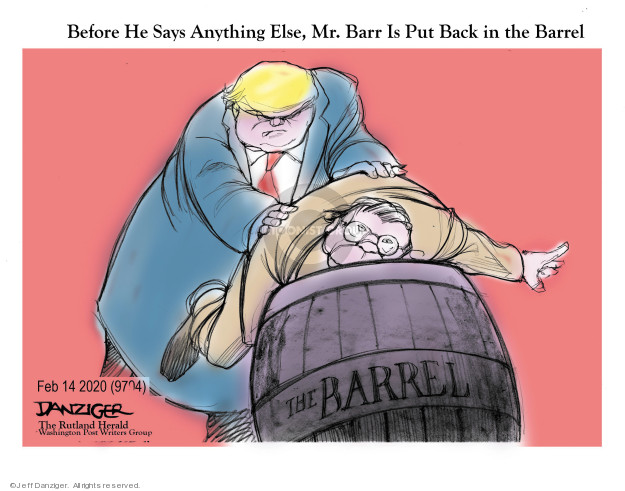Cartoonist Jeff Danziger  Jeff Danziger's Editorial Cartoons 2020-02-15 Robert