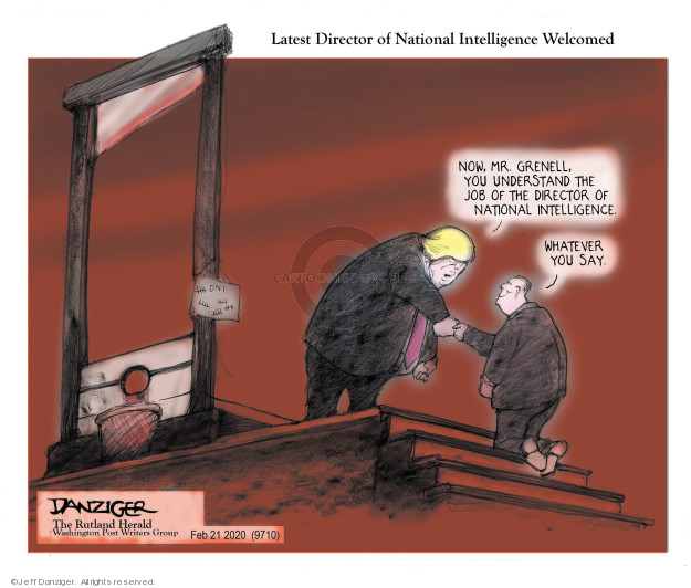 Cartoonist Jeff Danziger  Jeff Danziger's Editorial Cartoons 2020-02-22 national