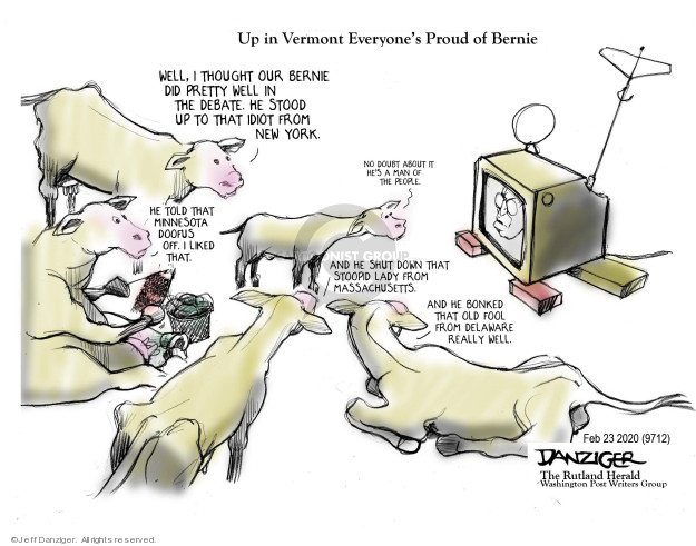 Cartoonist Jeff Danziger  Jeff Danziger's Editorial Cartoons 2020-02-25 democratic candidate