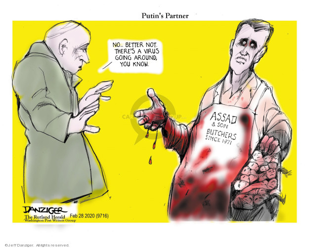 Cartoonist Jeff Danziger  Jeff Danziger's Editorial Cartoons 2020-03-01 Vladimir Putin