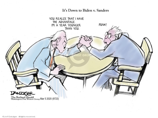 Cartoonist Jeff Danziger  Jeff Danziger's Editorial Cartoons 2020-03-06 democratic candidate