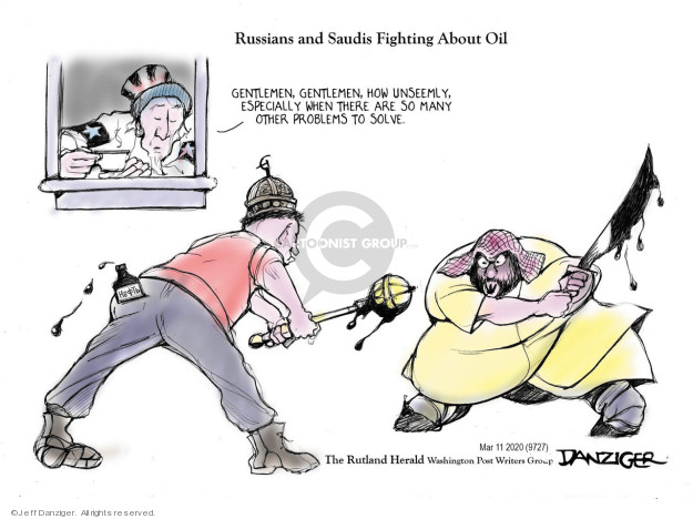 Cartoonist Jeff Danziger  Jeff Danziger's Editorial Cartoons 2020-03-13 fight