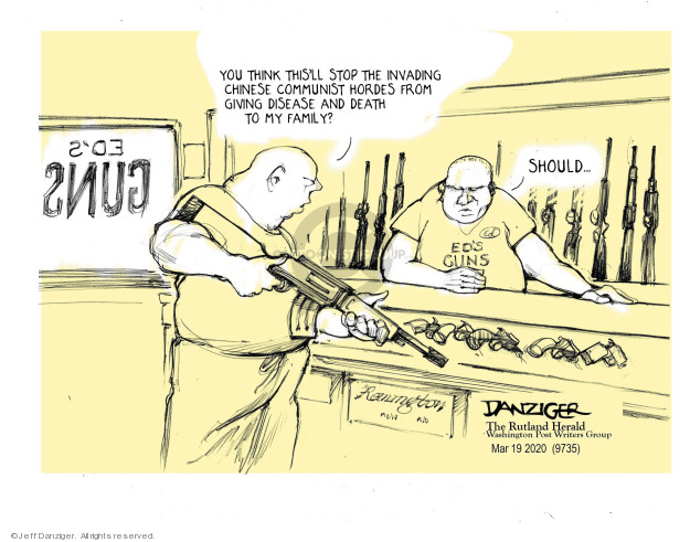 Cartoonist Jeff Danziger  Jeff Danziger's Editorial Cartoons 2020-03-21 gun violence