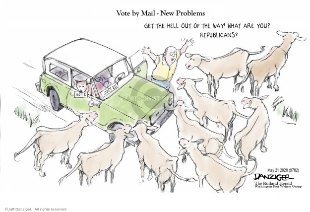 Cartoonist Jeff Danziger  Jeff Danziger's Editorial Cartoons 2020-05-22 voter suppression