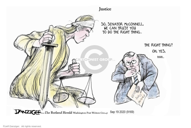 Jeff Danziger  Jeff Danziger's Editorial Cartoons 2020-09-19 senate majority leader