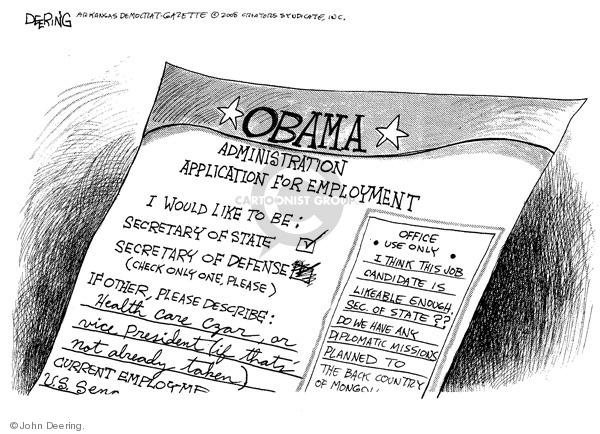 Cartoonist John Deering  John Deering's Editorial Cartoons 2008-11-18 cabinet