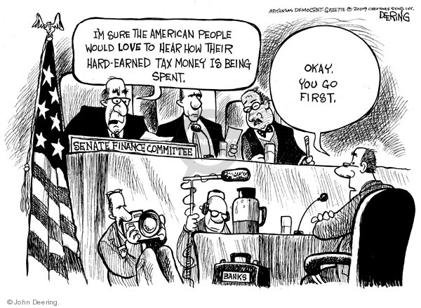 Cartoonist John Deering  John Deering's Editorial Cartoons 2009-02-16 banker