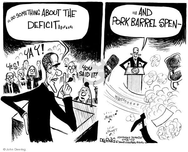Cartoonist John Deering  John Deering's Editorial Cartoons 2009-03-05 budget deficit