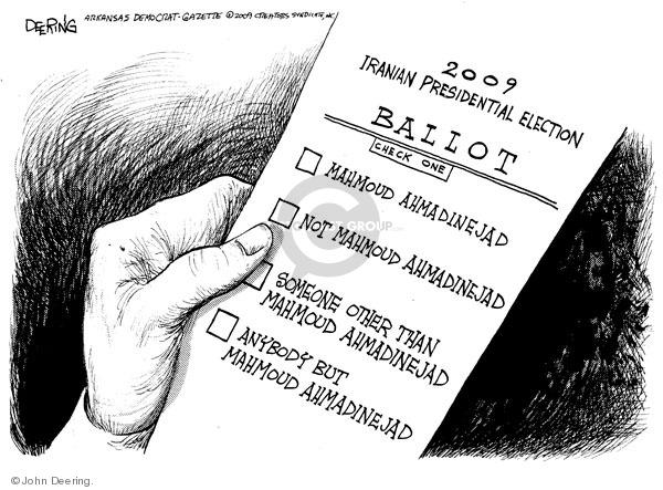 John Deering  John Deering's Editorial Cartoons 2009-06-12 2009 Iranian election