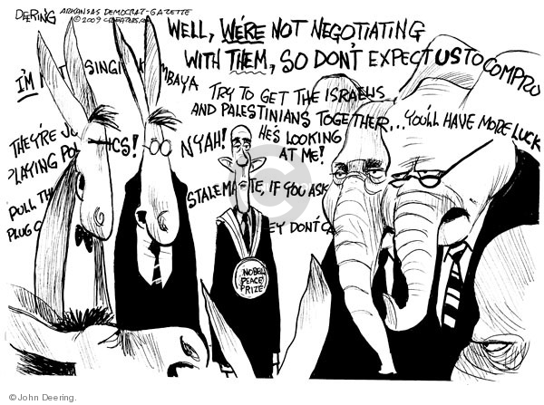 Cartoonist John Deering  John Deering's Editorial Cartoons 2009-10-14 partisan politics