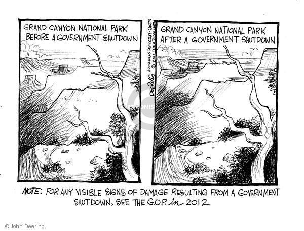 Cartoonist John Deering  John Deering's Editorial Cartoons 2011-04-06 government shutdown