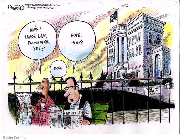 Cartoonist John Deering  John Deering's Editorial Cartoons 2012-09-01 unemployment